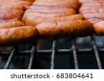 preparation bbq sausages on the ... | Shutterstock . vector #683804641