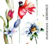 floral wallpaper with garden...   Shutterstock . vector #683804815