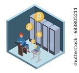 mining bitcoin concept. young...   Shutterstock .eps vector #683805211
