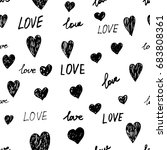 love ink seamless pattern with... | Shutterstock . vector #683808361