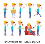 set of guy in different poses.... | Shutterstock .eps vector #683810725