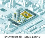 city isometric plan with road... | Shutterstock .eps vector #683812549