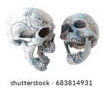 human scary skull locally... | Shutterstock . vector #683814931
