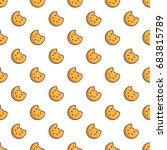 bitten round cookie pattern | Shutterstock .eps vector #683815789