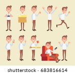set of young man in different... | Shutterstock .eps vector #683816614