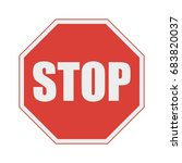 red stop sign. prohibition no ... | Shutterstock .eps vector #683820037