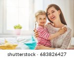 mom and her daughter child girl ... | Shutterstock . vector #683826427