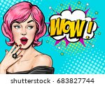Pop Art Pink Hair Woman With...