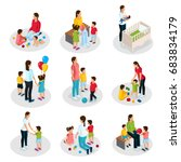 isometric nanny work set | Shutterstock .eps vector #683834179