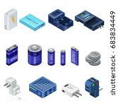 isometric chargers and... | Shutterstock .eps vector #683834449