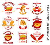 fast food logo set with nine... | Shutterstock .eps vector #683834461