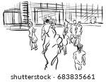 people walking in urban scene... | Shutterstock . vector #683835661