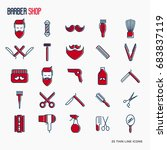 barber shop thin line icons set ... | Shutterstock .eps vector #683837119