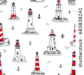 vector lighthouses seamless... | Shutterstock .eps vector #683838241