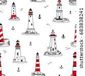 vector lighthouses seamless... | Shutterstock .eps vector #683838241