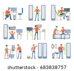 young men are engaged in repair ... | Shutterstock .eps vector #683838757