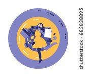 shopping girl | Shutterstock .eps vector #683838895