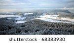 Winter Table Mountain range-  landscape near small, picturesque Pasterka village in Poland. Famous tourist attraction. - stock photo