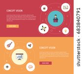 flat icons bulb  businessman ... | Shutterstock .eps vector #683840791