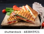 club sandwich panini with ham ... | Shutterstock . vector #683845921