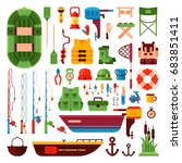 fishing isolated elements set... | Shutterstock .eps vector #683851411