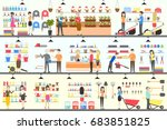 home and garden store interior... | Shutterstock . vector #683851825