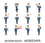 businessman character set on... | Shutterstock . vector #683853409