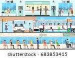 bus interior set. seat in the... | Shutterstock . vector #683853415