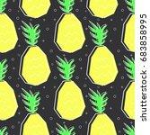 flat line pineapple pattern... | Shutterstock .eps vector #683858995