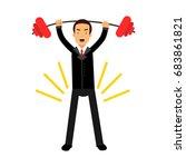 businessman character lifting... | Shutterstock .eps vector #683861821