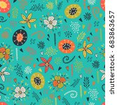seamless floral pattern with... | Shutterstock .eps vector #683863657