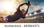 american football player jumps... | Shutterstock . vector #683864371