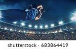 american football player jumps... | Shutterstock . vector #683864419