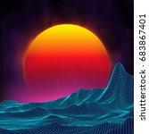 retro background futuristic... | Shutterstock .eps vector #683867401