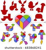 vector tangram heart  geometric ...   Shutterstock .eps vector #683868241