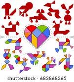 vector tangram heart  geometric ...   Shutterstock .eps vector #683868265