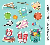 stickers with school supplies... | Shutterstock .eps vector #683869885
