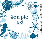 background with marine animals. ... | Shutterstock .eps vector #683871484