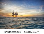 offshore oil installation  | Shutterstock . vector #683873674