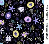 seamless floral pattern with... | Shutterstock .eps vector #683875117