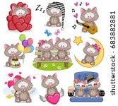 set of cute cartoon cat on a... | Shutterstock .eps vector #683882881