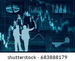 financial graphs analysis and... | Shutterstock . vector #683888179