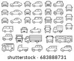 line drawing of simple car  ... | Shutterstock . vector #683888731