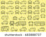 line drawing of simple car  ...   Shutterstock .eps vector #683888737