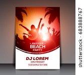 orange and red summer beach... | Shutterstock .eps vector #683888767