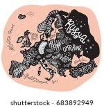 vector europe map. decorative... | Shutterstock .eps vector #683892949
