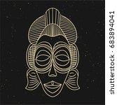 vintage line old mask. vector... | Shutterstock .eps vector #683894041