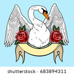 portrait of a swan with spread... | Shutterstock .eps vector #683894311