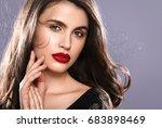 beauty woman face portrait.... | Shutterstock . vector #683898469
