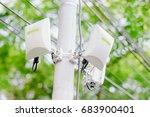 mobile phone telecommunication... | Shutterstock . vector #683900401